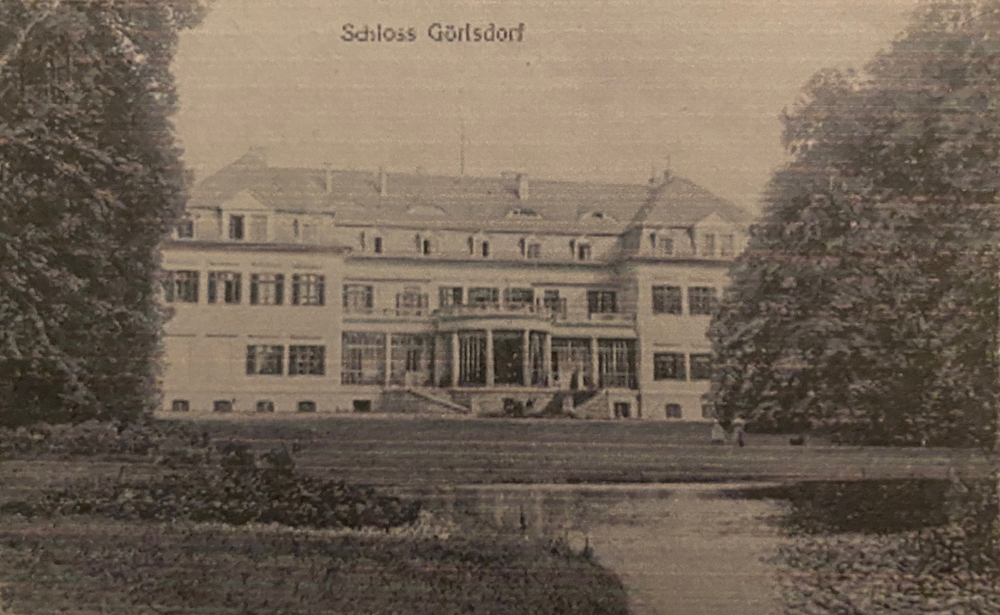 Schloss Görlsdorf Ansicht Gartenseite, ca. 1920,